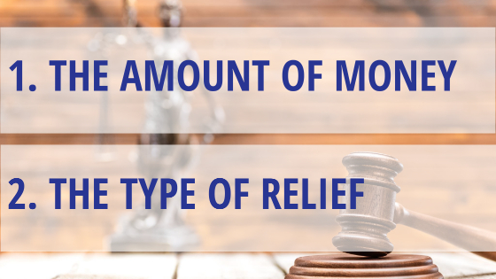 The amount of money you're owed, and the type of relief you want